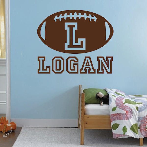 Personalize Football Monogram Wall Decal