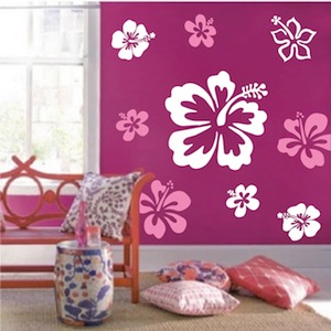 Hibiscus Flowers Wall Decals. Zoom. Use 3 different sheets/colors to create this look & Hibiscus Flowers Wall Decal - Trendy Wall Designs