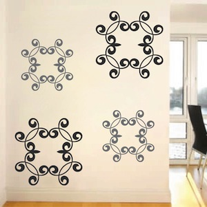 wrought iron wall decals zoom use 2 different colorssizes sheets to create this look - Wrought Iron Wall Designs