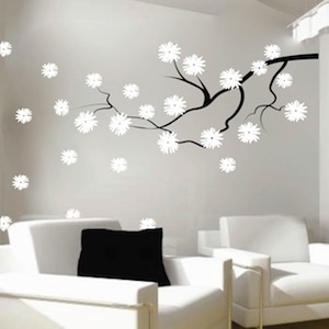 Contemporary Branch Flowers Vinyl Wall Decal. Zoom