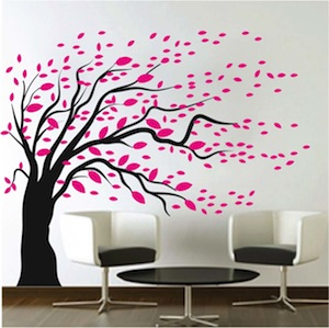 Trendy Wall Art blowing tree wall art design | trendy wall designs
