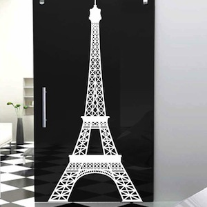 Eiffel tower wall decal large items similar to eiffel for Black and white paris wall mural