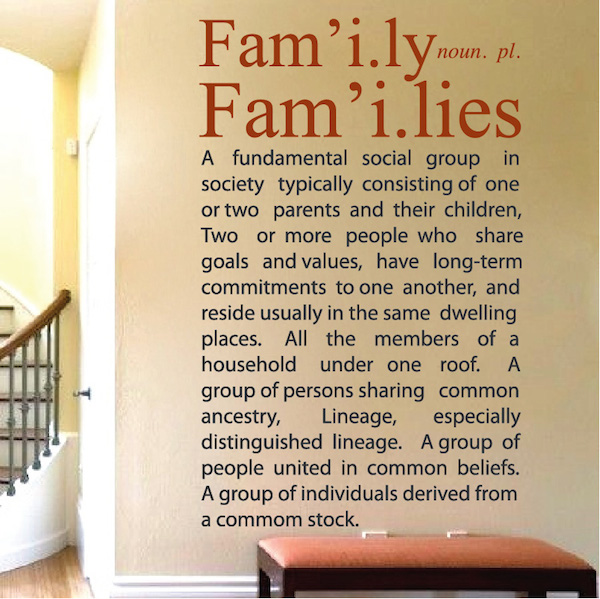 Wall Decal Quotes | Family Definition Wall Decal Quote Trendy Wall Designs
