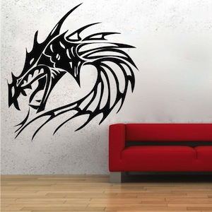 Ordinaire Fire Dragon Head Wall Decal. Zoom