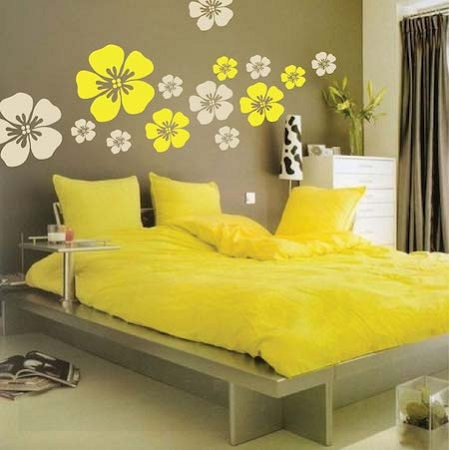 flower wall art design zoom we used 2 different colors to create this look - Wall Art Design Decals