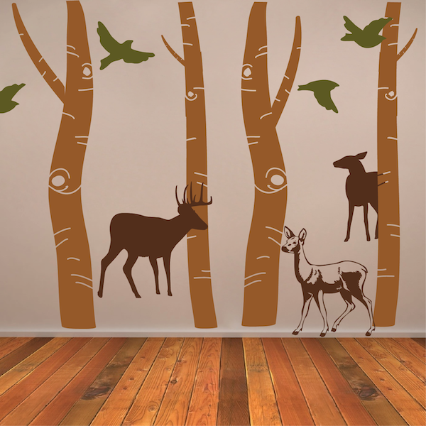 Birch Tree Trunk Wall Designs |Birch Tree Wallpaper | Tall Forest
