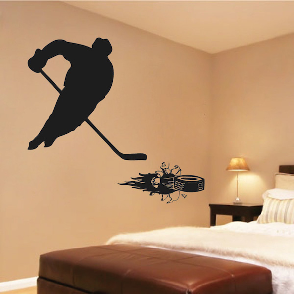 3D Puck Hockey Wall Decal - Trendy Wall Designs