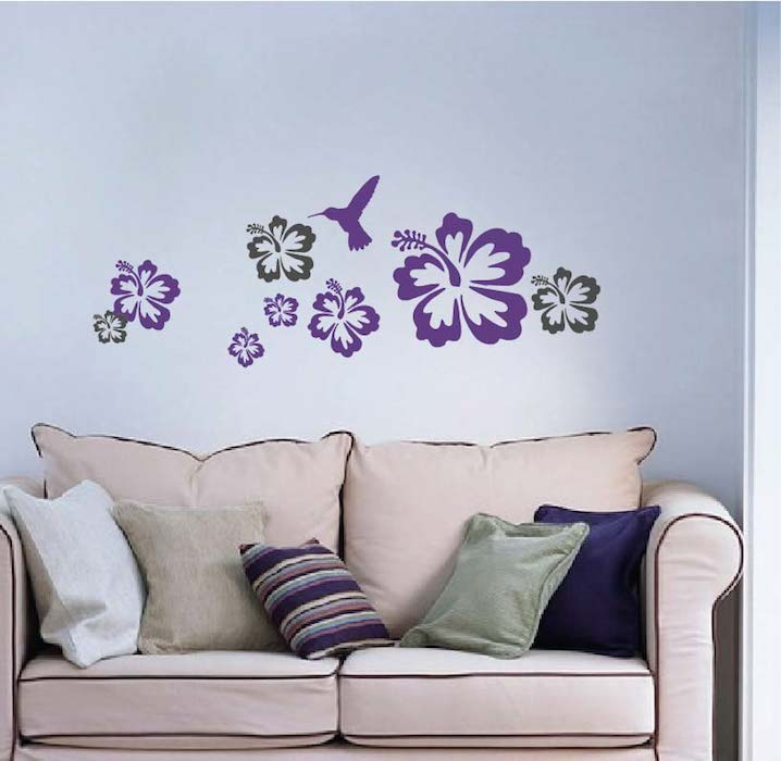 Hummingbirds And Flowers Decals Hibiscus Vinyl Wall Sticker