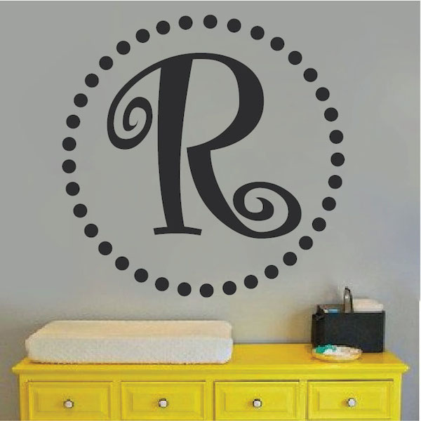 Curly Initial Monogram Wall Decal. Zoom