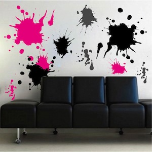 Pink Wall Decals ink splash wall decals - trendy wall designs