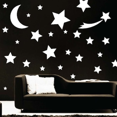 Shooting star wall art design trendy wall designs for Star wall decals