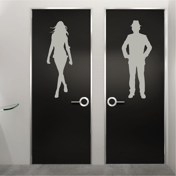 Merveilleux Modern Bathroom Door Wall Decals. Zoom