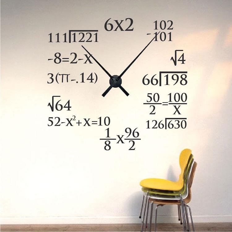 Modern Math Clock Unique Clocks Trendy Wall Designs - Wall decals clock