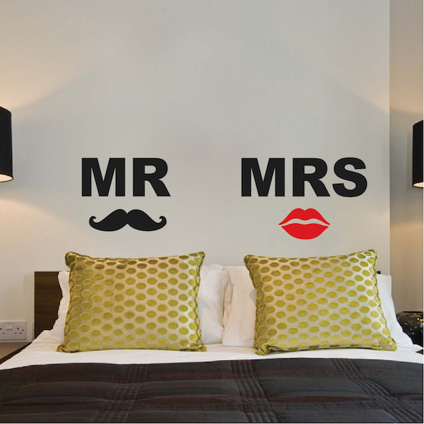 Mr. & Mrs. Headboard Wall Decals - Trendy Wall Designs