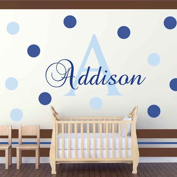 Nursery Monogram Wall Decal. Zoom