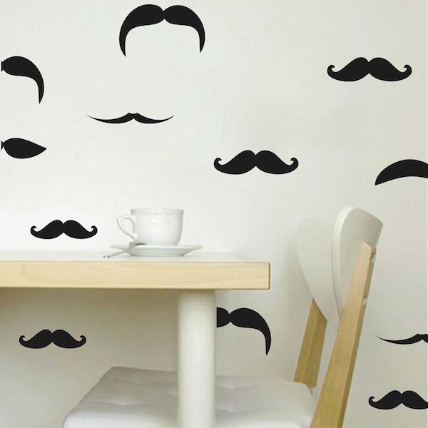 Mustache Wall and Mug Decals - Trendy Wall Designs