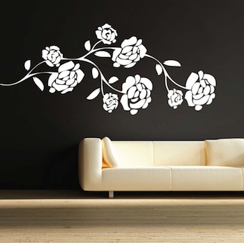 Pretty Flower Branch Wall Decal. Zoom