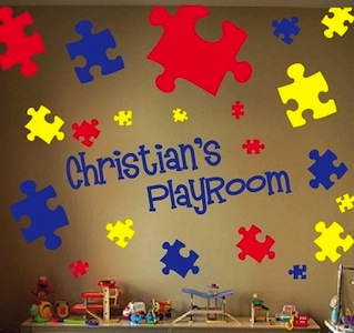Puzzle Piece Wall Decor puzzle piece wall decals & kids wall decor from trendy wall designs
