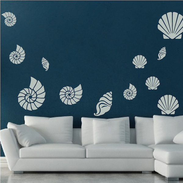 seashell wall art decals zoom - Wall Art Design Decals