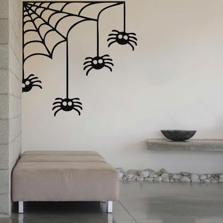 corner spider web halloween decal - Wall Designs Stickers