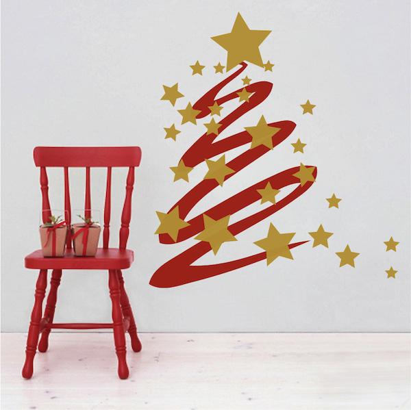 Modern Christmas Tree and Stars Wall Decal. Zoom