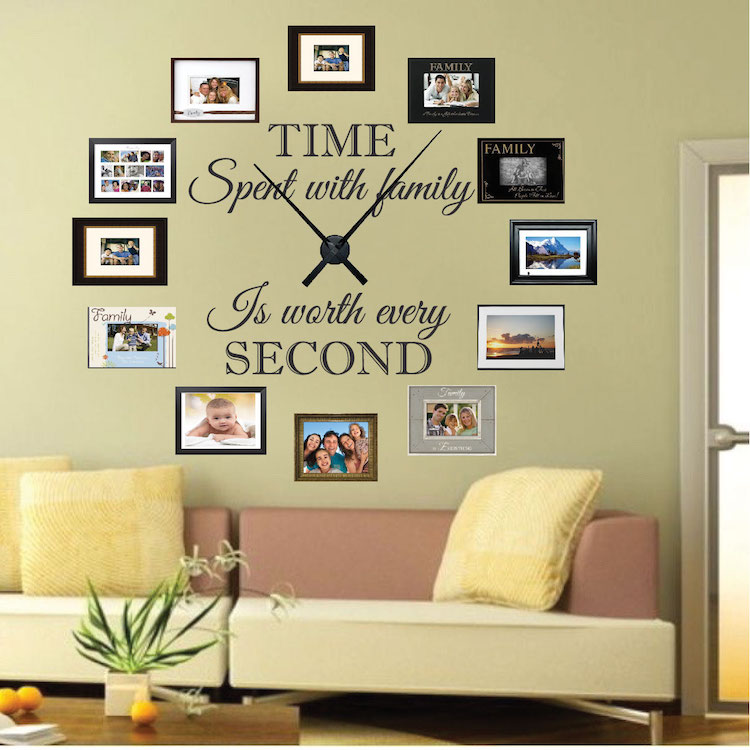 Wall Art Decals Clock : Real family clock wall decal stickers for walls