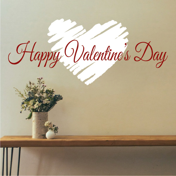 Happy Valentine'S Day Wall Art Sticker - Trendy Wall Designs