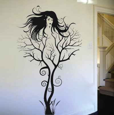 Amazing Teal Wall Art Stickers #2: Wall-decal-abstract-tree-