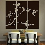 Cherry Blossom Bird Panel Vinyl Decal