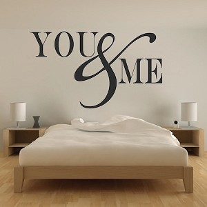 Romantic bedroom wall decal vinyl mural sticker you for Bedroom furniture quotes