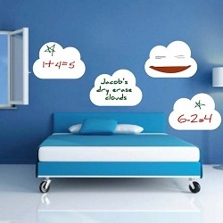 Four Dry Erase Cloud Wall Decals