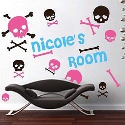 Cute Skull & Bone Wall Decals