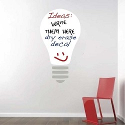 Dry Erase Light Bulb Wall Decal