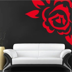 Corner Rose Vinyl Wall Art Design