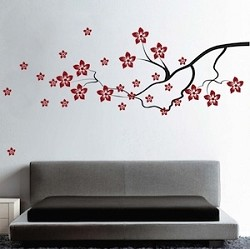 Contemporary Flower Branch Wall Decal