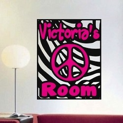 Zebra-Peace Sign Name Decal