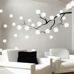 contemporary branch flowers vinyl wall decal - Wall Art Design Decals