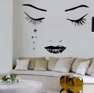 Modern face wall decal trendy wall designs - Stickers salon design ...