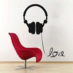 Headphone Love Wire Wall Art Decal