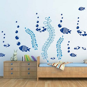 DIY Fish Bubbles Wall Stickers