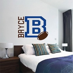 Football Monogram Wall Mural