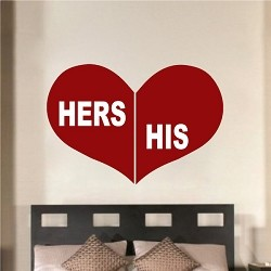 His & Her Heart Wall Decal