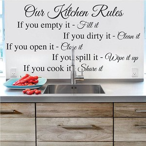 Kitchen Rules Wall Decal Saying