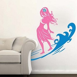 Surfer Chick Wall Decal With Wave