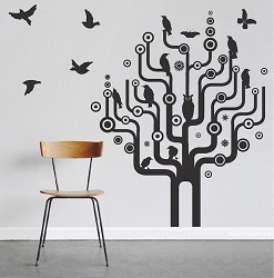 Urban Bird Tree Wall Art Design