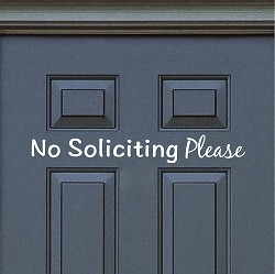 No Soliciting Door Decal Sticker Sign