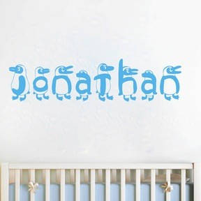 Custom Penguin Name Wall Decal