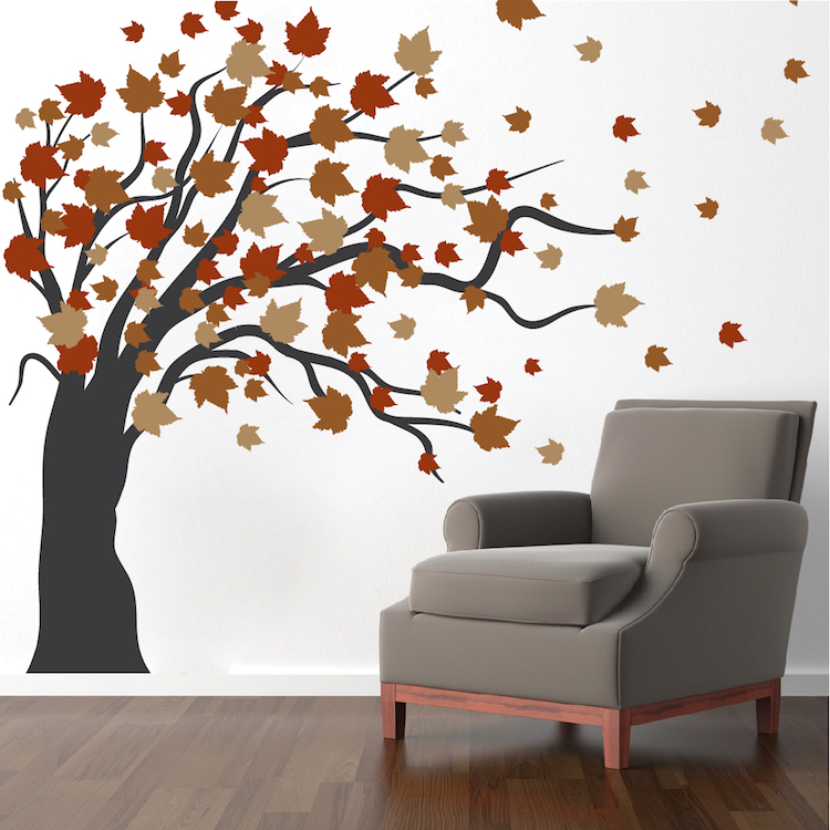 Autumn Spring Tree Wall Decal Fall Tree Murals Sprint Tree Decals Large Blowing Tree Wall Decal Trendy Wall Designs