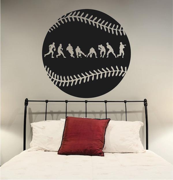 Baseball Fielder Action Wall Decal Trendy Wall Designs