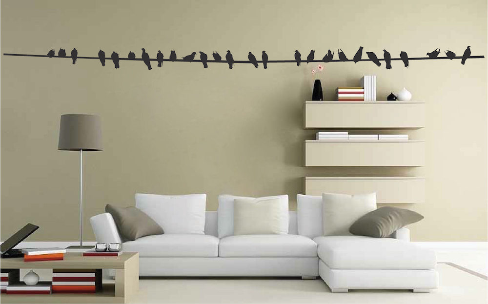 birds on wire wall decal _ bird stickers for walls and windows _